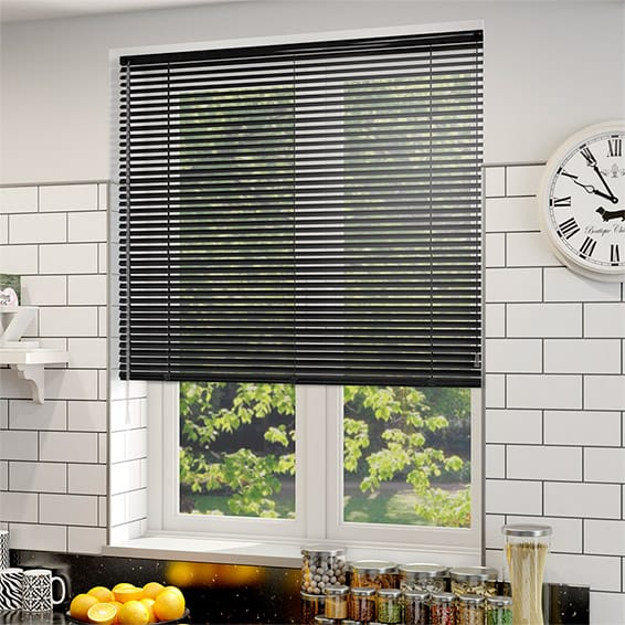 Lamode Shiny Black Aluminium Venetian Blind 25mm Slat
