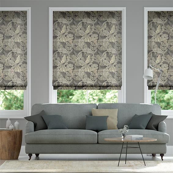 William Morris Acanthus Velvet Mineral Roman Blind