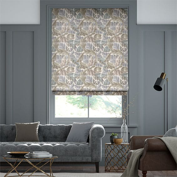 William Morris Acanthus Velvet Travertine Roman Blind