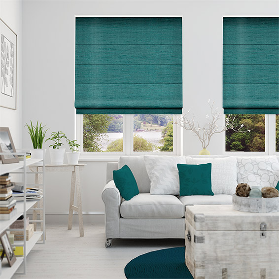 Ahisma Luxe Faux Silk Turquoise Roman Blind