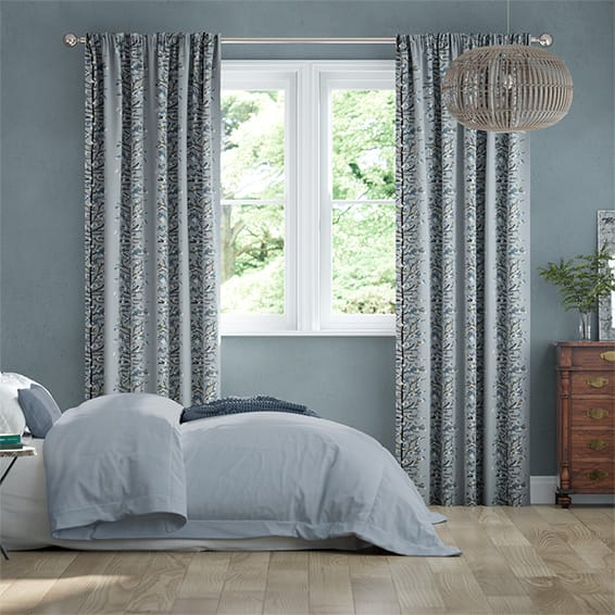 Berry Blossom Linen Blueberry Curtains