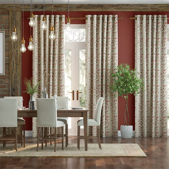 Berry Blossom Linen Cherry Curtains