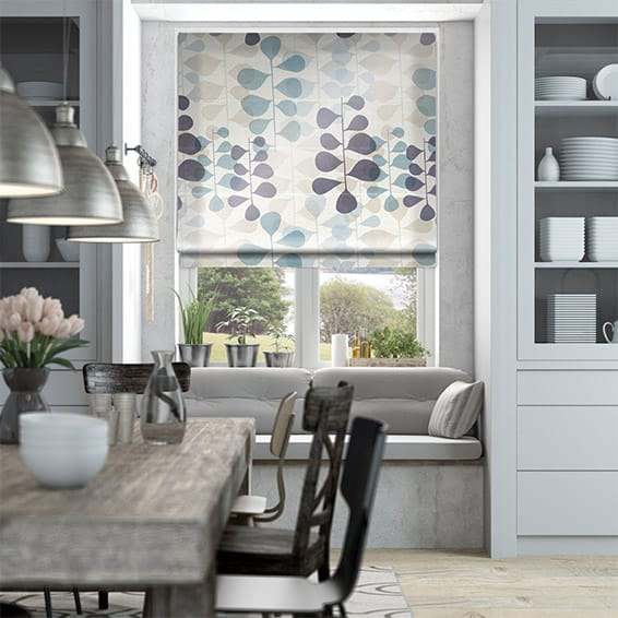 Blooming Meadow Faux Silk Blue Roman Blind
