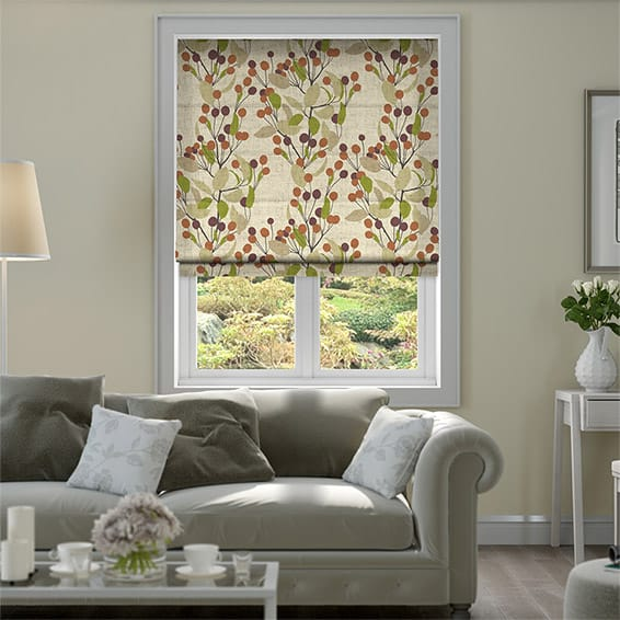 Bursting Berries Vintage Linen Grape Roman Blind