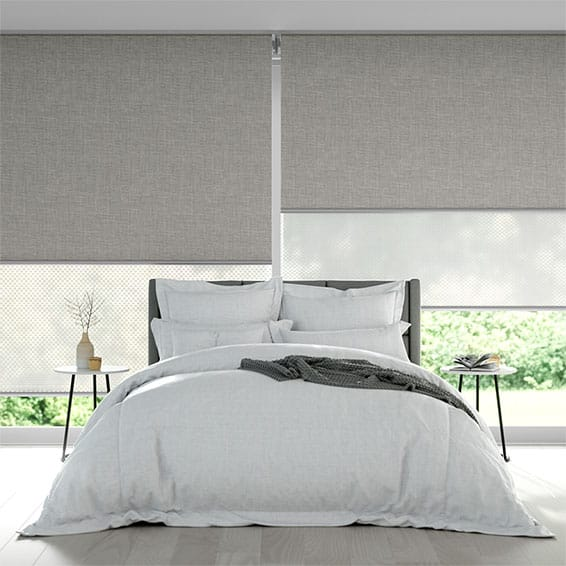 Canali Silver & White Double Roller Blind