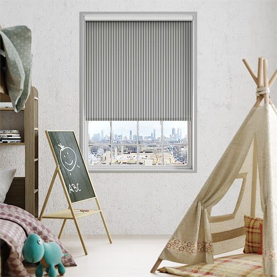 Candy Stripe Charcoal Roller Blind