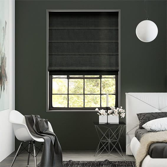 Canterbury Velvet Midnight Roman Blind