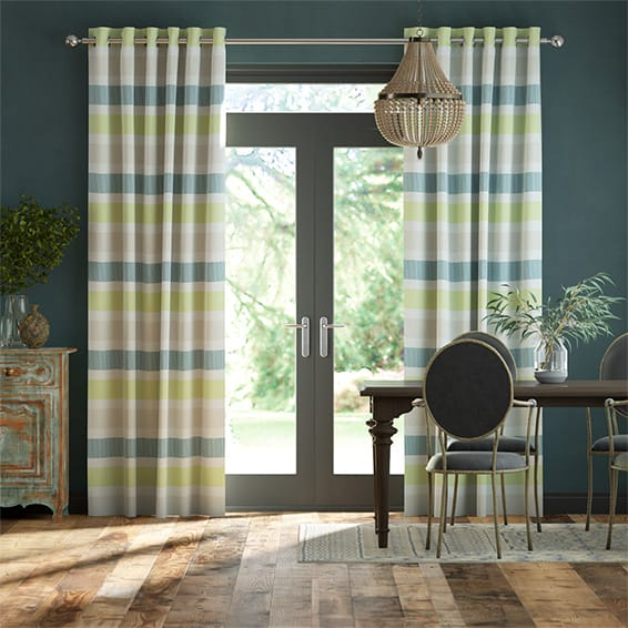 Cardigan Stripe Linen Sea Green Curtains
