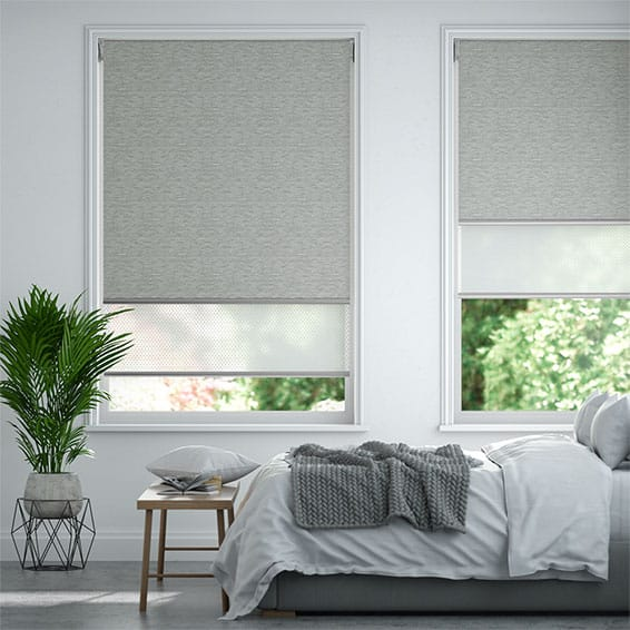 Caress Silver & Arctic White Double Roller Blind