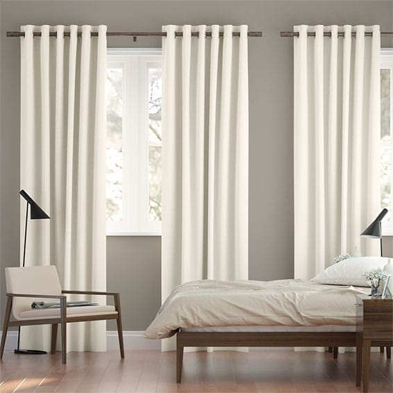 Chenille Cotton White Curtains