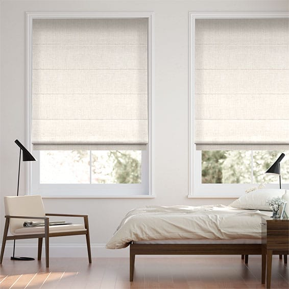 Chenille Cotton White Roman Blind