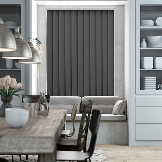 Serenity Coal Blockout Vertical Blind - 127mm Slat