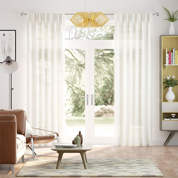 Cirrus Voile Cotton White Curtains