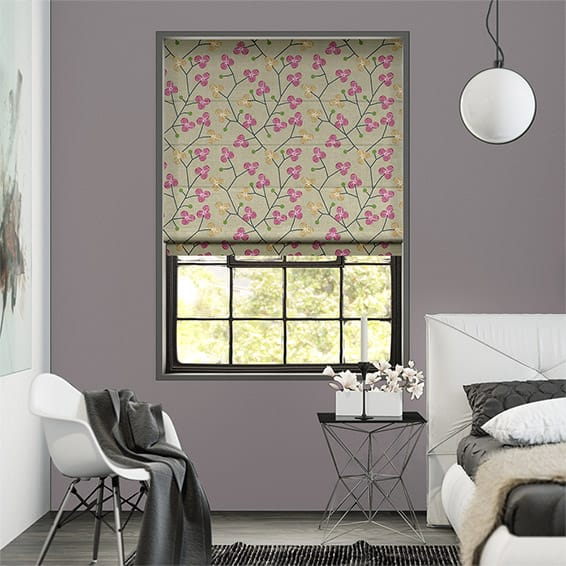 Country Blossom Linen Dark Raspberry Roman Blind