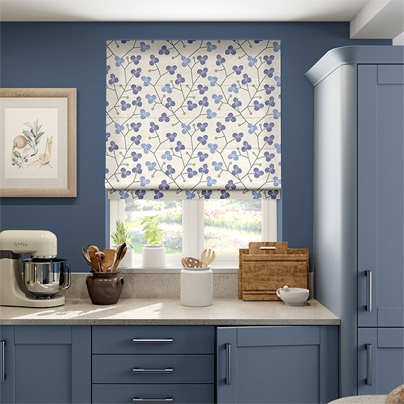 Country Blossom Linen Navy Blue Roman Blind