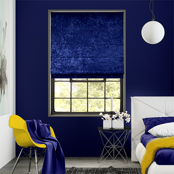 Crushed Velvet Royal Blue Roman Blind
