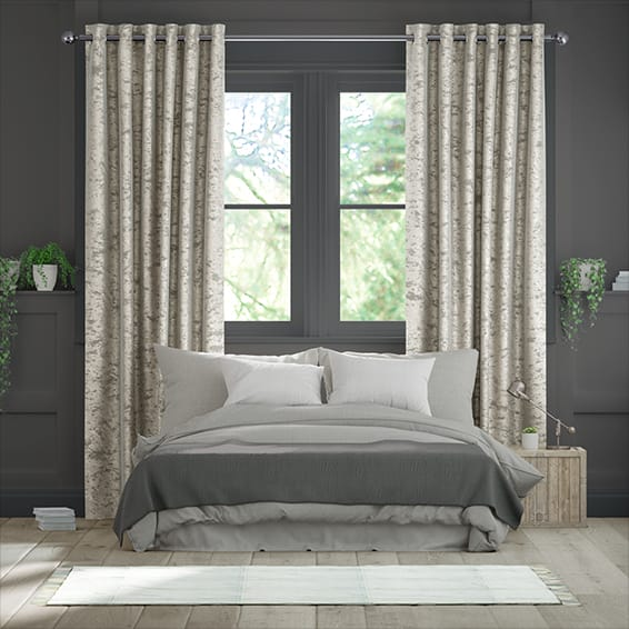 Crushed Velvet Warm Silver Curtains