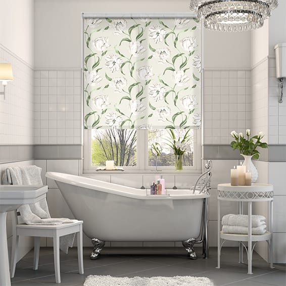 Dancing Tulips Cream Roller Blind