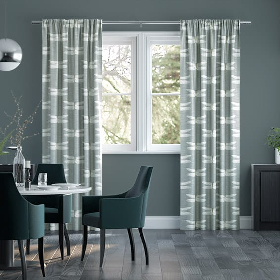 Demoiselle Faux Silk Steel Curtains