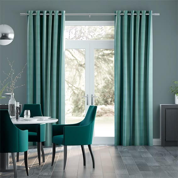 Dorset Stripe Linen Green Curtains