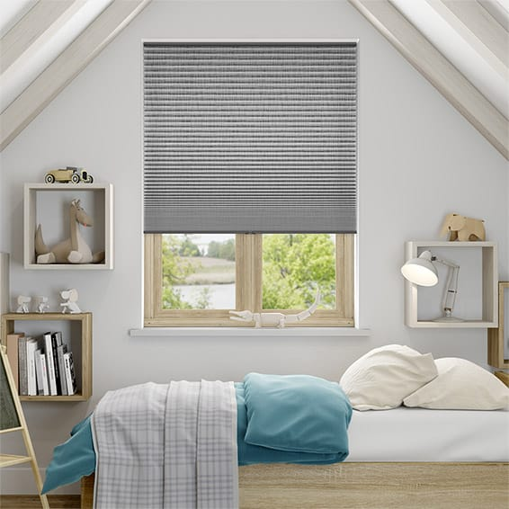 DuoShade Cordless Grey Weave Pleated Blind