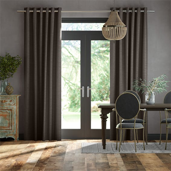 Dupioni Faux Silk Shimmering Grey Curtains
