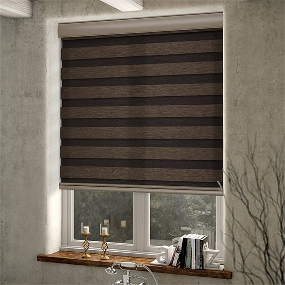Enjoy Dark Wood Zebra Roller Blind Blinds Online