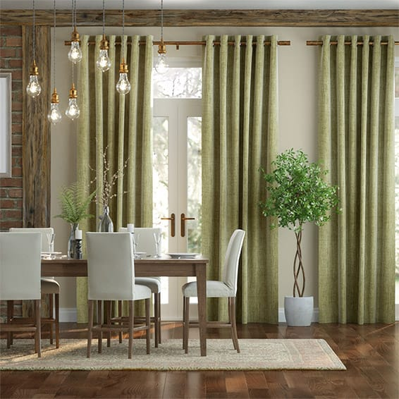 Eternity Linen Green Ochre Curtains