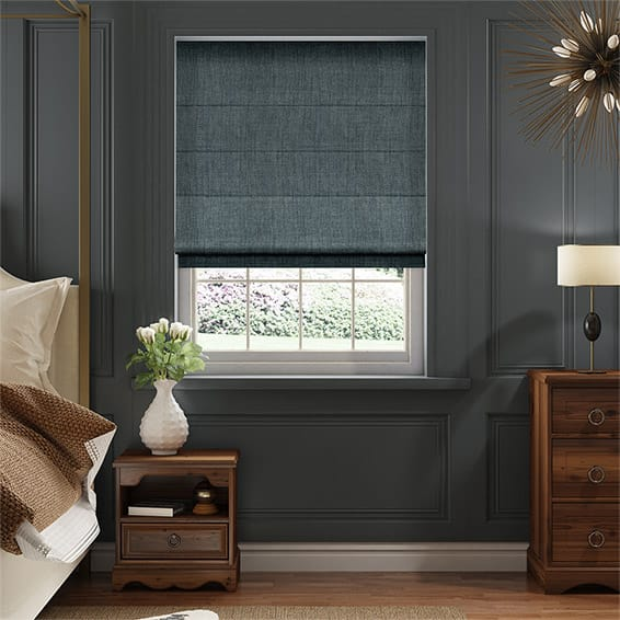 Eternity Linen Ultra Blue Roman Blind