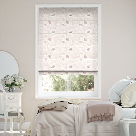 Falling Leaves Faux Silk Rose Roman Blind