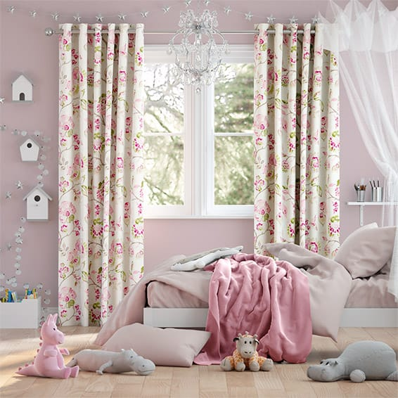 Floral Ink Linen Pink Curtains