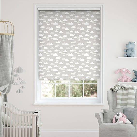 Fluffy Clouds Grey Blockout Roller Blind