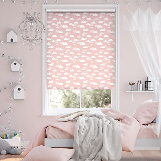 Fluffy Clouds Pink Blockout Roller Blind