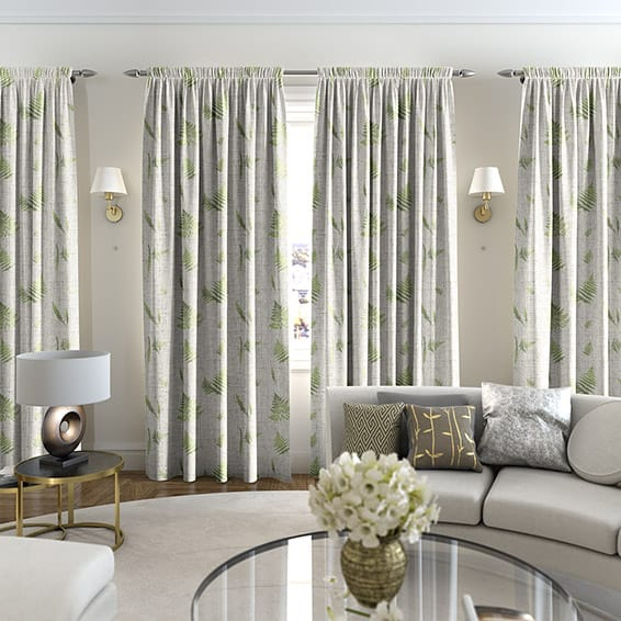 Forest Fern Linen Foliage Curtains