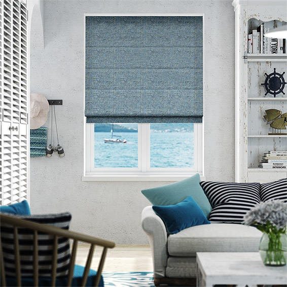 Glencoe Lake Blue Roman Blind