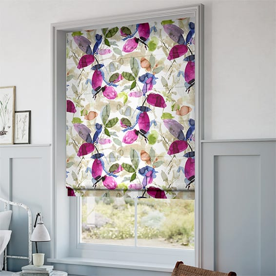 Hadley Linen Blooming Violet Roman Blind Blinds Online