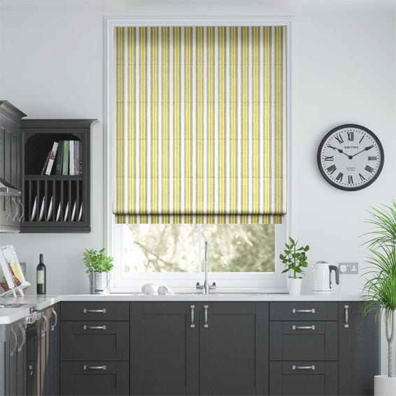 Hand Painted Stripe Ochre Roman Blind