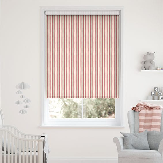 Hand Painted Stripe Rose Pink Roller Blind