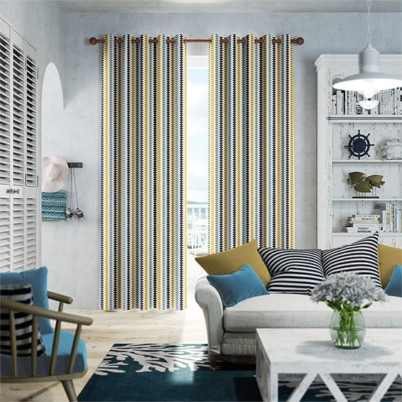 Hounds Tooth Beach Blue Curtains