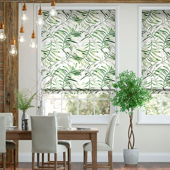 Kentia Linen Leaf Roman Blind