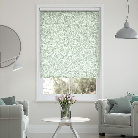 Garden Flowers Duck Egg Roller Blind