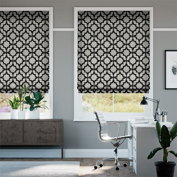Lattice Black Roman Blind