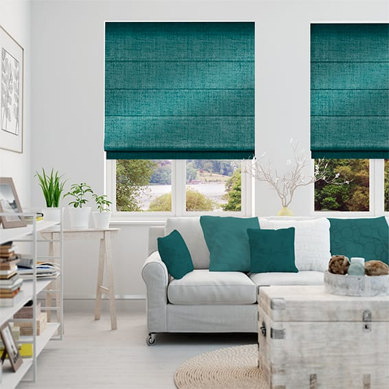 Luster Turquoise Roman Blind