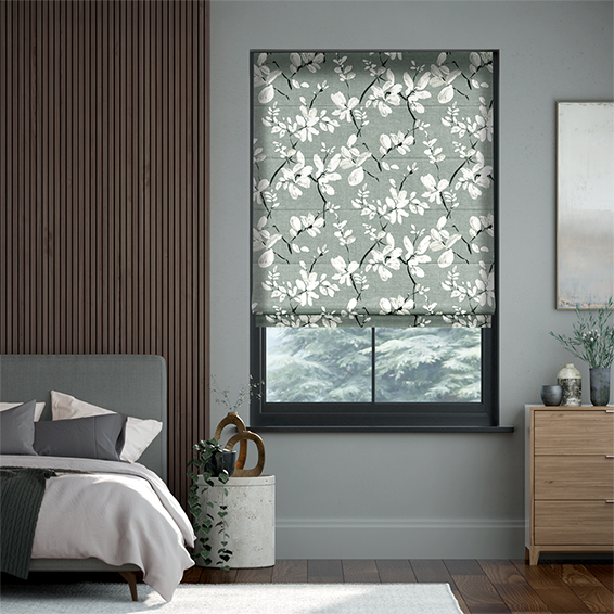 Madelyn Velvet Noir Grey Roman Blind
