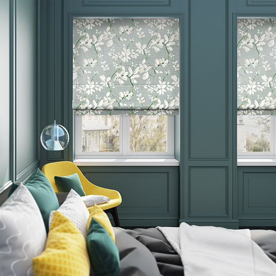 Madelyn Velvet Smoky Lime Roman Blind