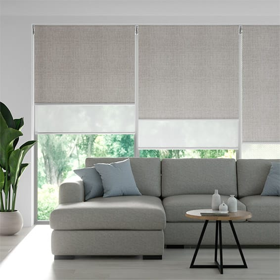 Moda Ash Grey & White Double Roller Blind