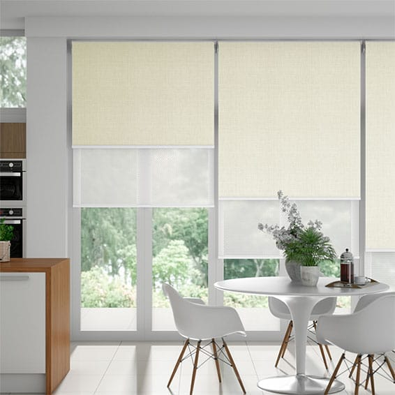 Moda Cream & White Double Roller Blind