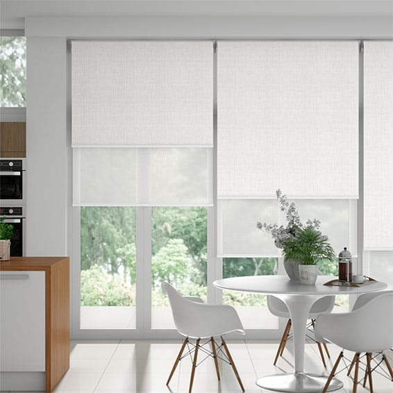 Moda White & White Double Roller Blind