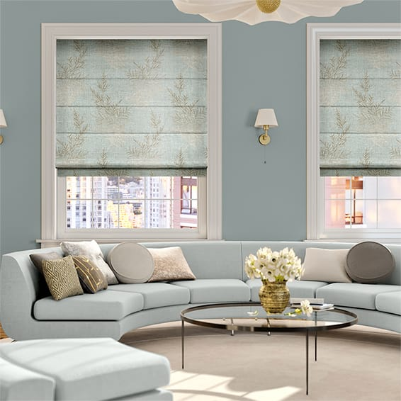 Moonlit Fern Faux Silk Pastel Blue Roman Blind