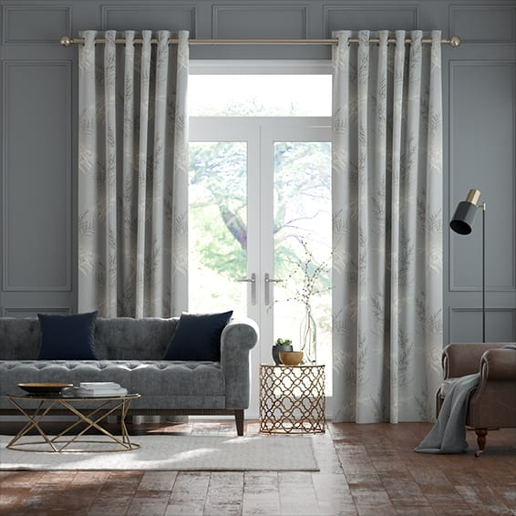Moonlit Fern Faux Silk Platinum Curtains